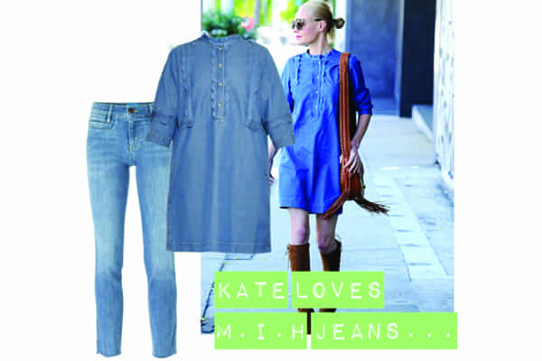 KATE BOSWORTH WEARS MUST-HAVE M.I.H JEANS DENIM DRESS