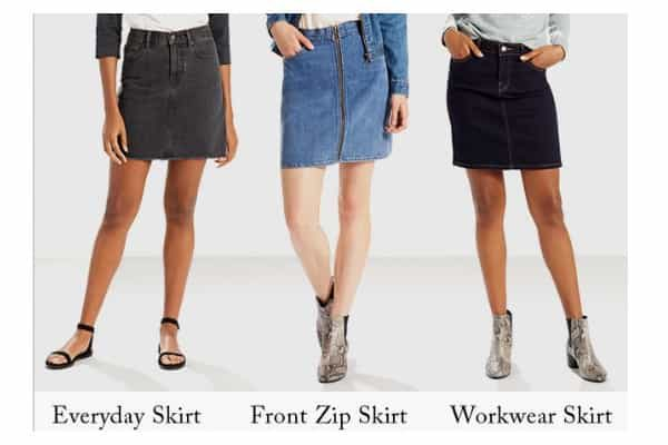 alt=Levis denim skirts
