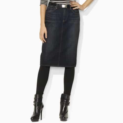 Ralph Lauren Denim Pencil Skirt Blue Label £240