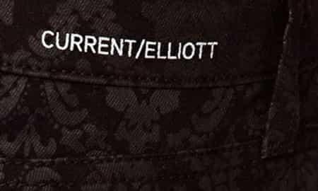 CURRENT/ELLIOTT BLACK BROCADE ANKLE SKINNY JEANS