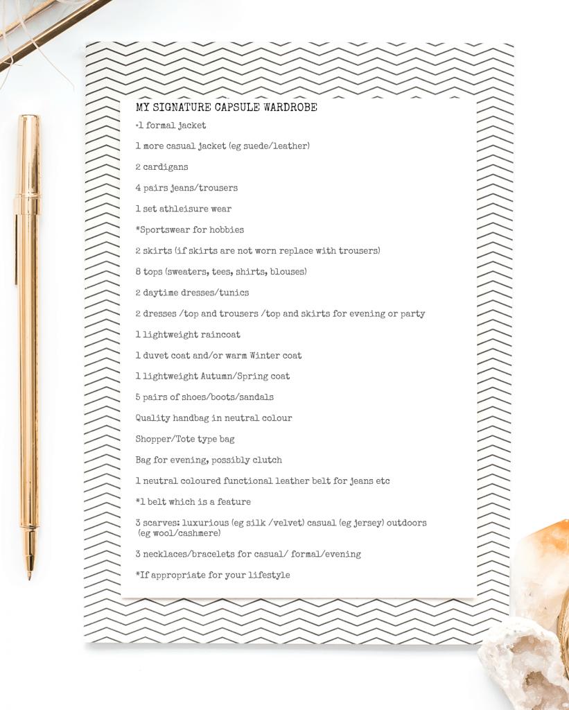 list of signature capsule wardrobe