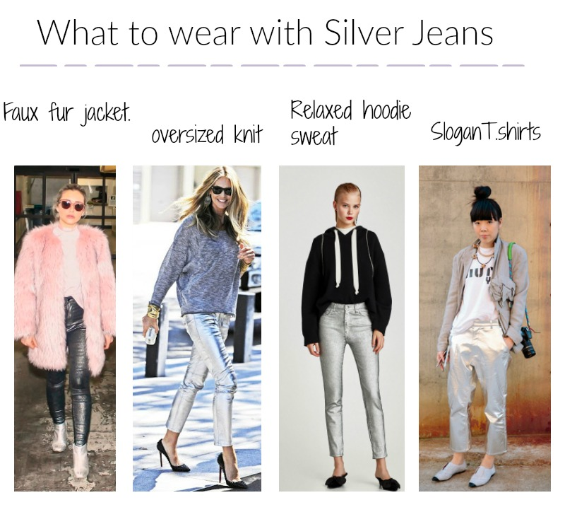 silver coated jeans